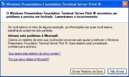 Erro Windows Presentation Foundation TS Print W